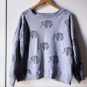 Wildfox Roaming Elephants Grey Sweatshirt small